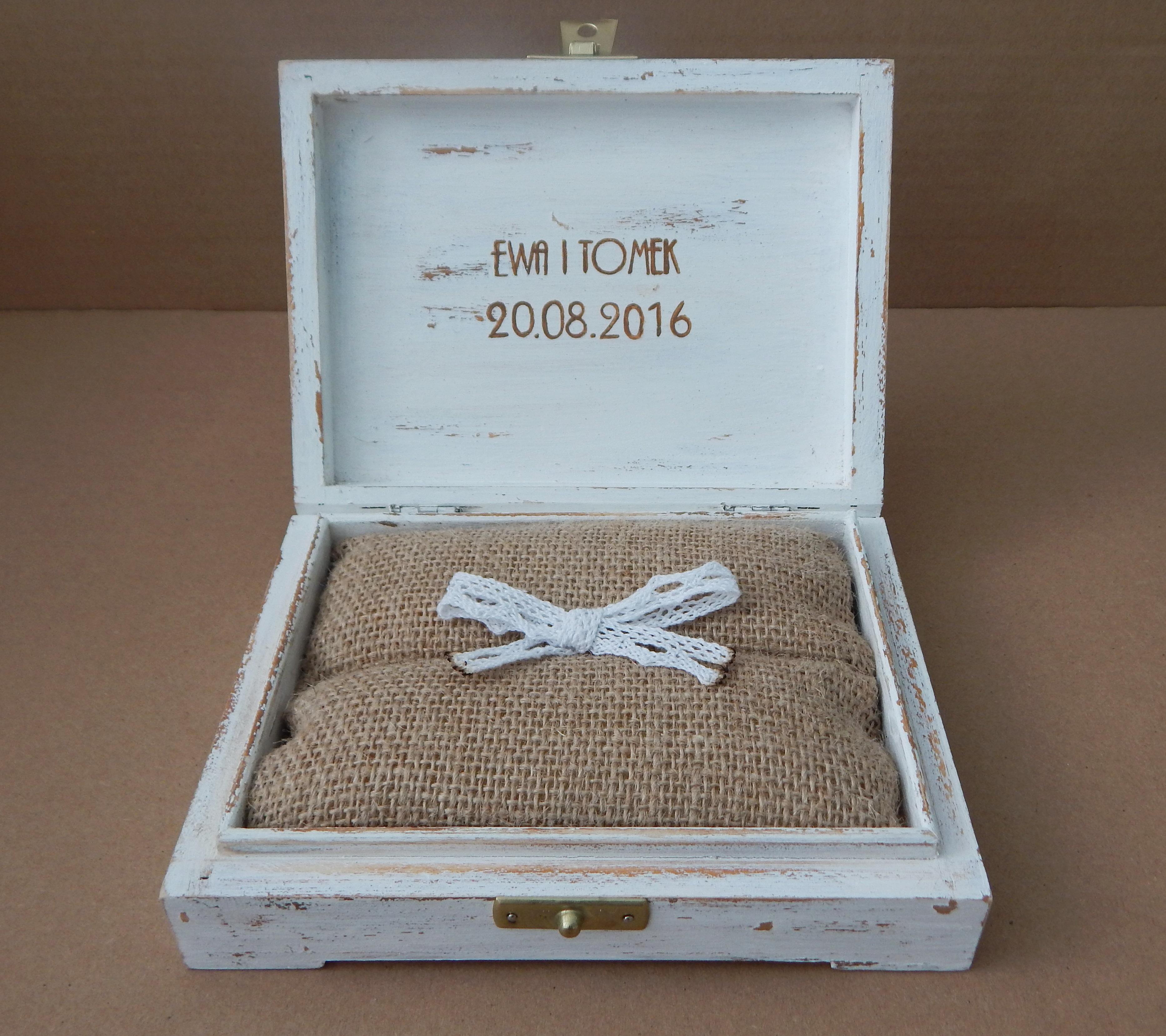 miodowe pudełko na obrączki vintage 3