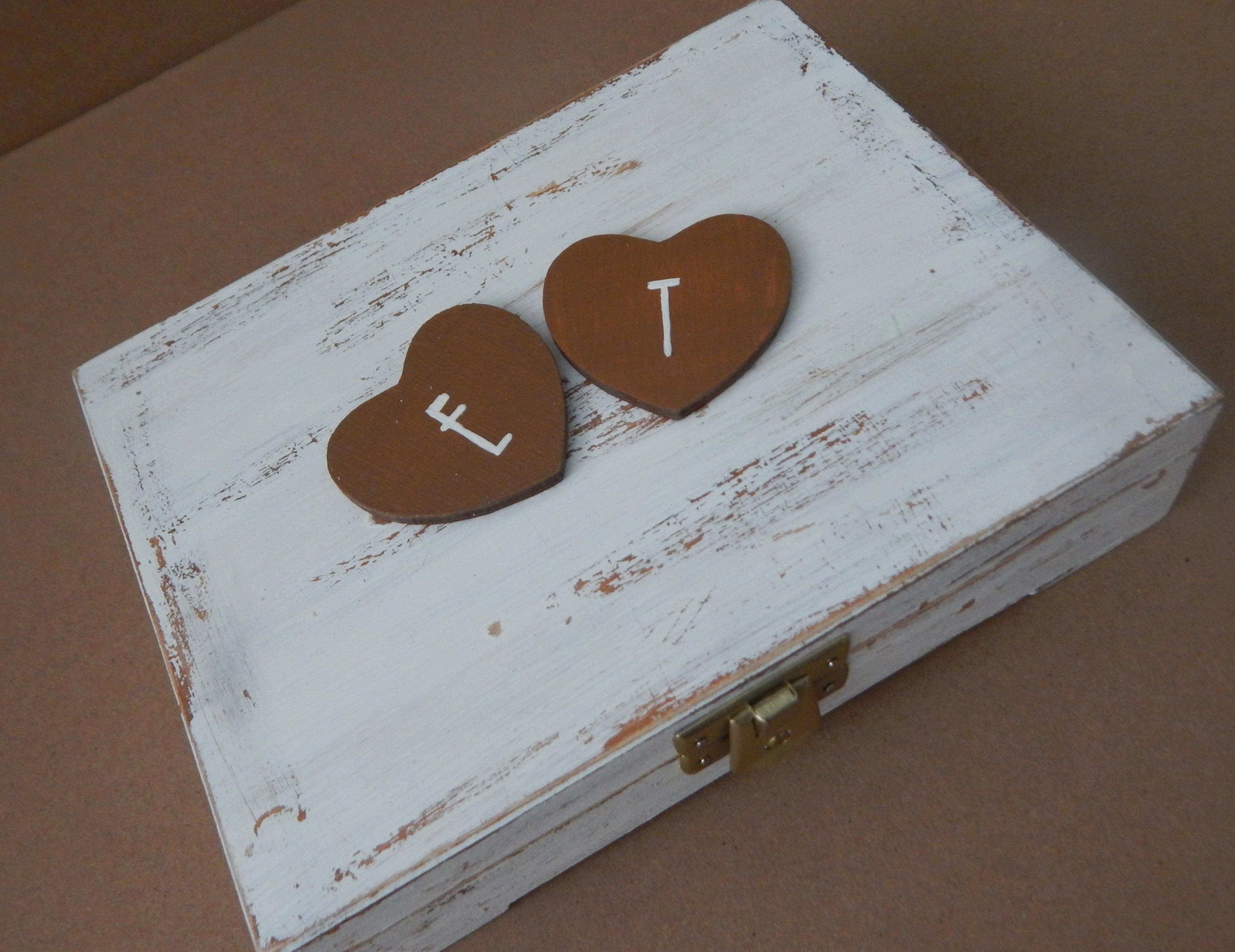miodowe pudełko na obrączki vintage